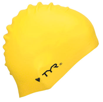 TYR Wrinkle-Free Silicon Swim Cap: Yellow