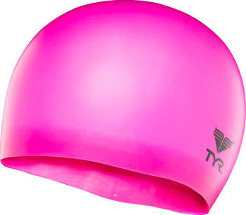 TYR Wrinkle-Free Silicon Junior Swim Cap: Fluorescent Pink