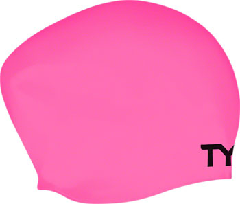 TYR Long Hair Silicon Swim Cap, Pink