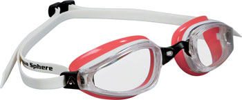 Michael Phelps K-180 Lady Goggles: White/Coral with Clear Lens