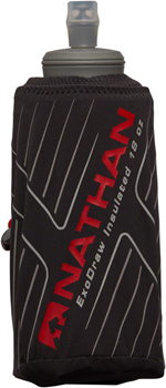 Nathan ExoDraw 2 Insulated Handheld Hydration - 18oz, Black/High Risk Red/Wild Dove
