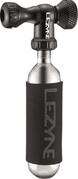 Lezyne Control Drive C0-2 Inflator, Slip-fit Shcrader/Presta, includes 16g cartridge with Neoprene Sleeve: Black