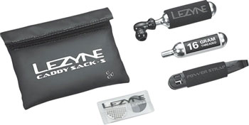 Lezyne Caddy Sack Pouch with C02 Tire Repair Caddy Kit: Black
