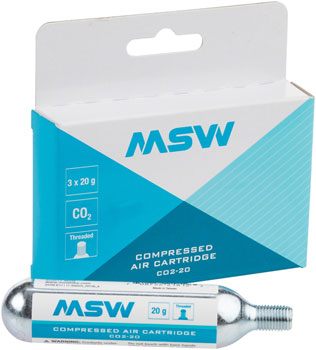 MSW CO2-20 CO2 Cartridge: 20g, 3 Pack