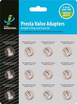 Genuine Innovations Alloy Presta Valve Adapter: Card of 12