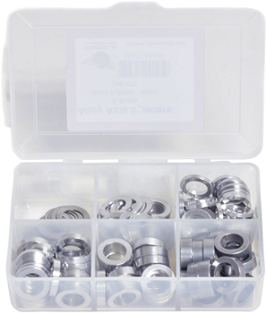 Wheels Manufacturing Kit of six assorted sizes (.5 to 5mm),  125 Spacers in storage box