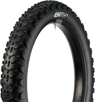 "45NRTH Dillinger 4 Studded Fatbike Tire: 26 x 4.0"", 240 concave studs, Tubeless Ready Folding 120tpi, Black"