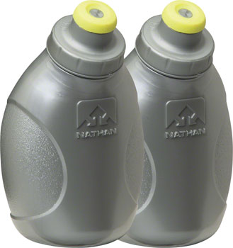 Nathan Push-Pull Cap Flask 2-Pack: 10oz, Silver