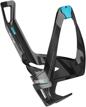 Elite Cannibal XC Water Bottle Cage: Gloss Black/Blue Graphic