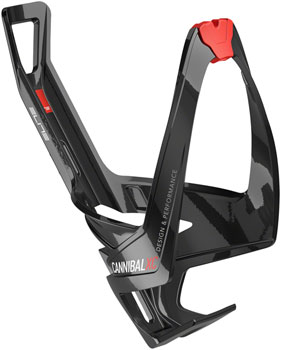 Elite Cannibal XC Water Bottle Cage: Gloss Black/Red Graphic