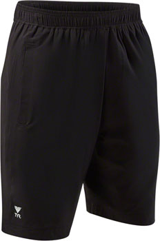 TYR Lake Front Land To Water Men's Casual Swim Short with Liner: Black MD