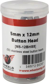 Wheels Manufacturing M5 x 12mm Button Head Cap Screw Stainless Steel Bottle/50
