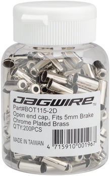 Jagwire 5mm Open Pre-Crimped End Caps Bottle of 200, Chome Plated