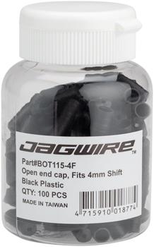 Jagwire 4mm Open Nylon End Caps Bottle of 100, Black