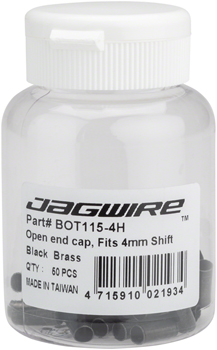 Jagwire 4mm Open Brass End Cap Bottle of 50, Black