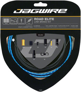 Jagwire Road Elite Link Brake Cable Kit SRAM/Shimano with Ultra-Slick Uncoated Cables, Blue