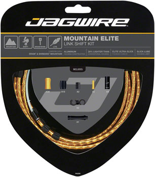 Jagwire Mountain Elite Link Shift Cable Kit SRAM/Shimano with Ultra-Slick Uncoated Cables, Gold