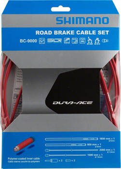 Shimano Dura-Ace BC-9000 Polymer-Coated Brake Cable Set, Red