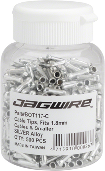 Jagwire 1.8mm Cable End Crimps SIlver Bottle/500