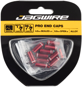 Jagwire End Cap Hop-Up Kit 4mm Shift and 5mm Brake, Red