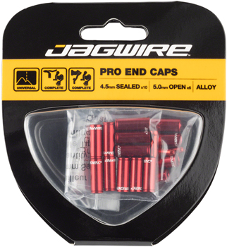 Jagwire End Cap Hop-Up Kit 4.5mm Shift and 5mm Brake, Red