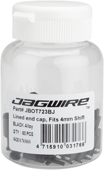 Jagwire 4mm Lined Alloy End Caps Bottle of 50, Black