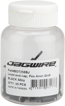 Jagwire 4.5mm Lined Alloy End Caps Bottle of 50, Black