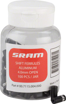 SRAM Shift Cable Housing Ferrules 4mm Open Black, 100-count Jar