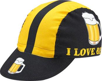 World Jerseys I Love Beer Cycling Cap: Black/Gold