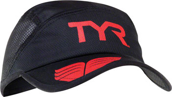 TYR Competitor Running Cap: Black/Red One Size