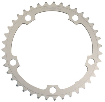 Sugino 40t x 130mm 5-Bolt Chainring, Anodized Silver