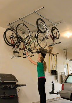 Saris Cycle-Glide Ceiling Mount 4-Bike Storage, Silver