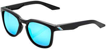 100% Hudson Sunglasses: Matte Black Frame with HiPER Blue Multilayer Mirror Lens
