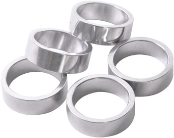 Wheels Manufacturing 10mm 1 Headset Spacer Silver Bag/5