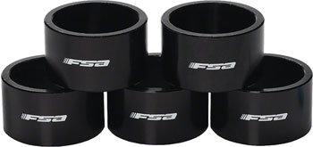 FSA 1-1/8x20mm Headset Spacers Black Alloy with Logo Bag of 5