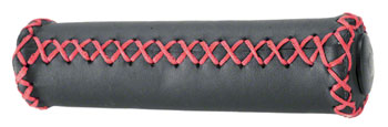 Dimension Hand-Stitched Leather Grips: Black/Red