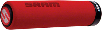 SRAM Locking Foam Grips Red with End Plugs
