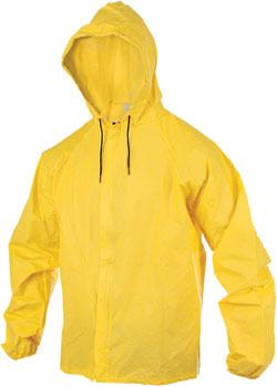 O2 Rainwear Hooded Rain Jacket with Drop Tail: Yellow 2XL