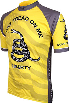 World Jerseys Don't Tread on Me Men's Cycling Jersey: Yellow/Gray, MD