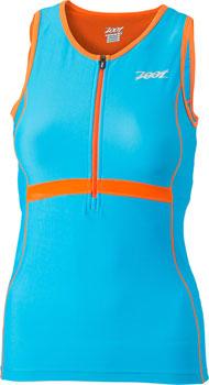 Zoot Women's Performance Tri Tank Top: Splash Blue / Orange Flame: XS