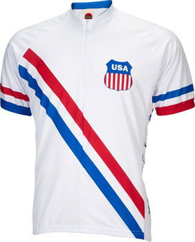 World Jerseys 1948 USA Olympic Men's Cycling Jersey: White/Red/Blue, MD