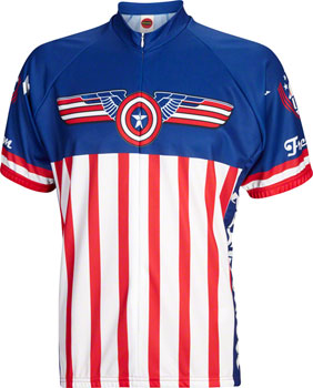 World Jerseys USA Freedom Men's Cycling Jersey: White/Blue/Red, MD