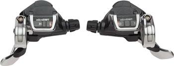 microSHIFT TS83 Thumb Tap Shifter Set, 10-Speed Road, Double/Triple, Shimano Compatible, Silver/Black