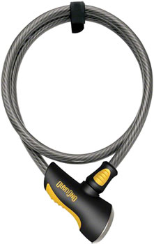 OnGuard Akita Non-Coil Cable Lock with Key: 10' x 12mm, Silver/Black/Yellow