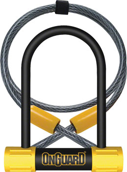 OnGuard Bulldog Mini DT U-Lock with Cable: 3.5 x 5.5, Black/Yellow