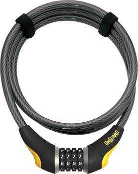 OnGuard Akita Resettable Combo Cable Lock: 6' x 10mm, Gray/Black/Yellow