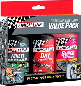 Finish Line Bike Care Value Pack, Includes DRY Chain Lubricant, EcoTech Degreaser and Super Bike Wash Cleaner