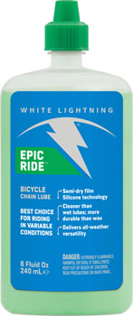 White Lightning Epic Ride Chain Lubricant, 8oz Drip