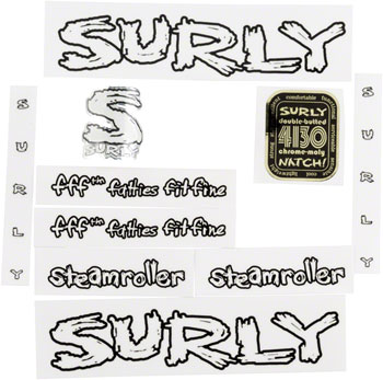 Surly Steamroller Frame Decal Set with Headbadge: White