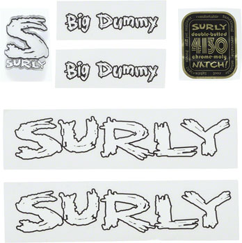 Surly Big Dummy Frame Decal Set with Headbadge: White